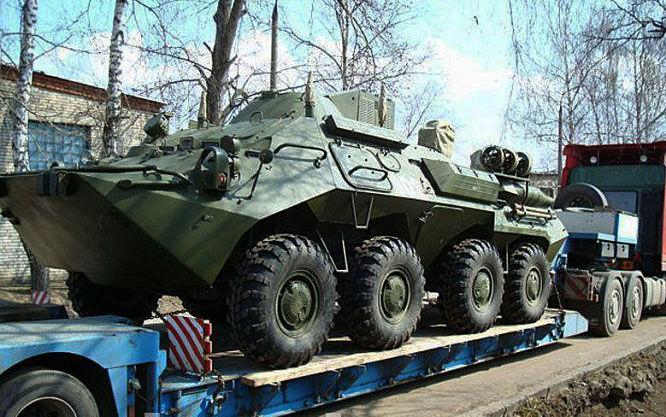 Перевозка бронетранспортеров автотранспортом